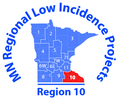 State of MN surrounded by the words MN Region 10 Low Incidence Projects